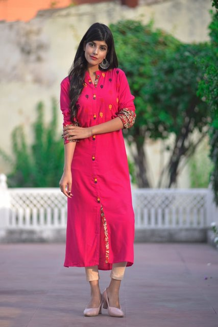Rayon Kurta in three vibrant colours