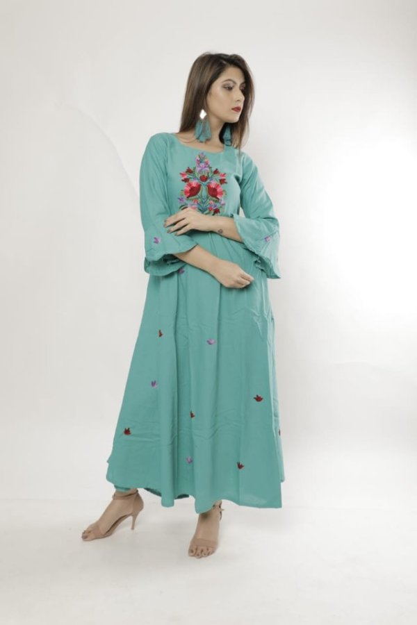 Rayon Kurti with Embroidery Work in Multiple Colours