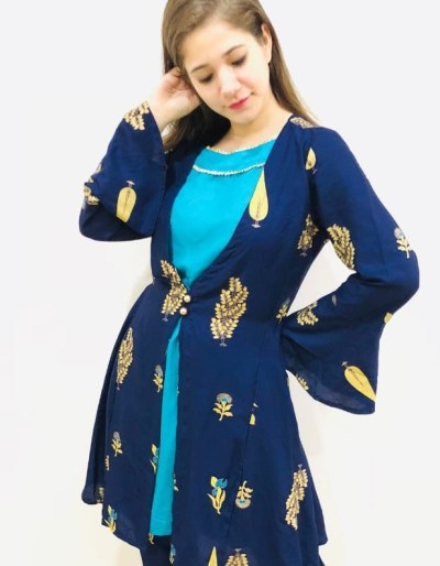 Three-piece kurti jacket with pant set