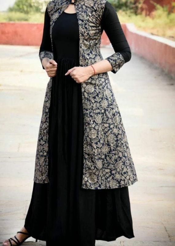 2-piece black kurti dress in rayon fabric [1085]