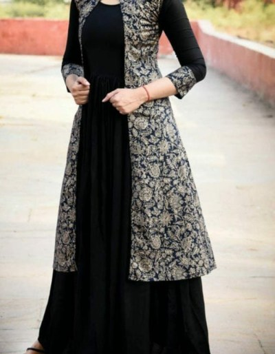 2-piece black kurti dress in rayon fabric [1085]