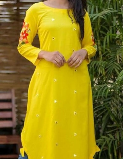 Yellow colour kurti with embroidery and mirror work [1081]