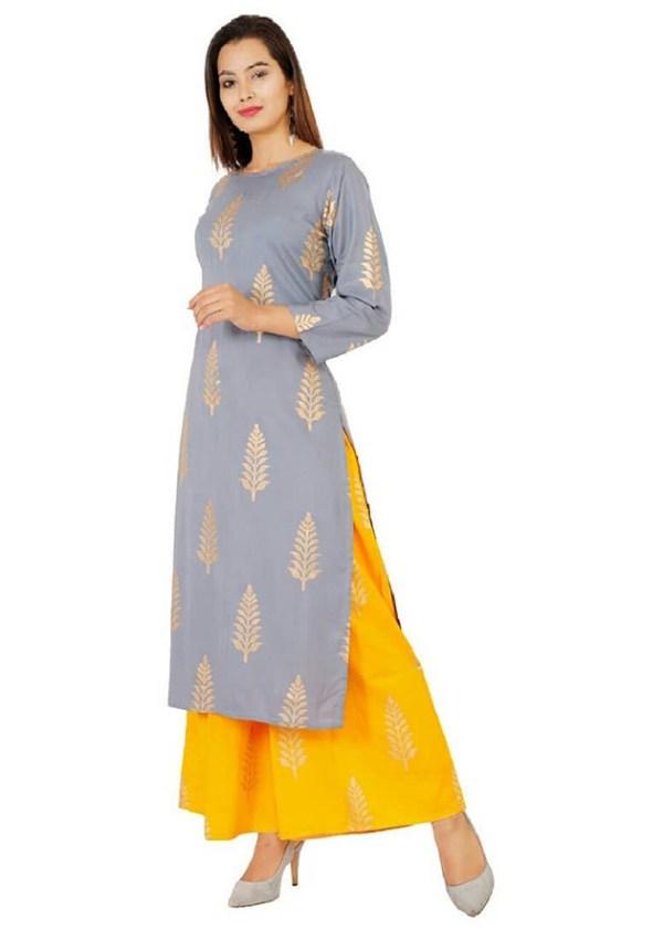 2-peice kurti, palazzo dress with gold print [1152]