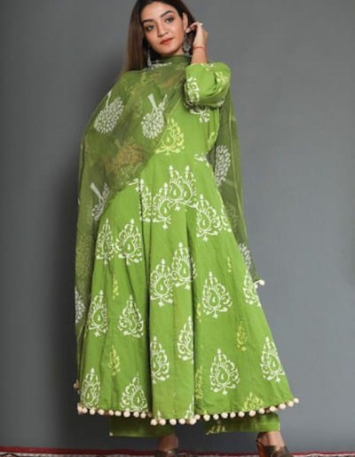3-piece cotton kurti, pant and dupatta in green colour