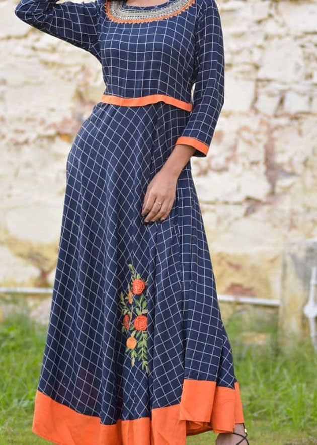 Casual long kurti with beautiful embroidery work