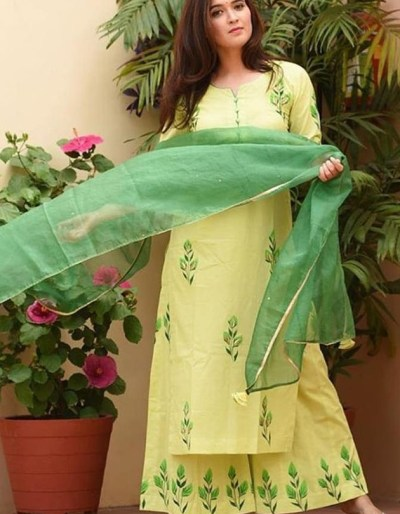 Green lawn kurti with palazzo and dupatta