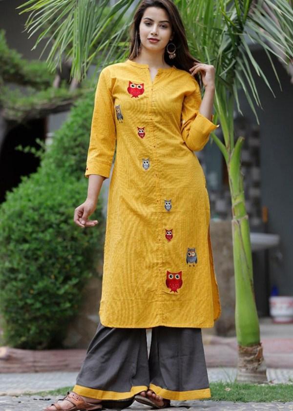 Katha work kurta with palazzo in rayon fabric