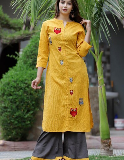 Katha work kurta with palazzo in rayon fabric