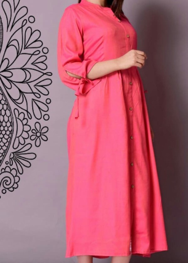 Long rayon kurti with designer buttons