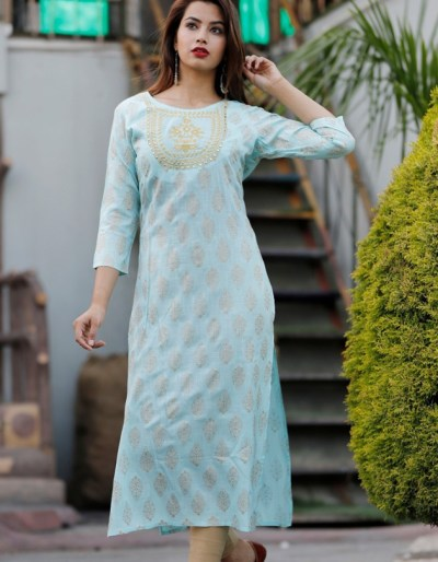 Rayon gold printed kurti with hand embroidery [1184]