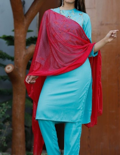 Rayon kurti and pant with red dupatta