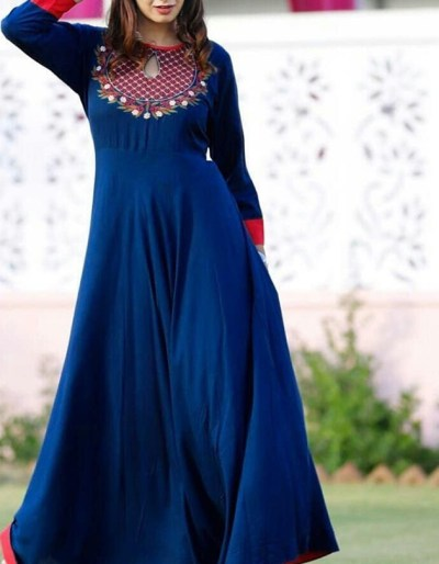 Stylish blue kurti with embroidery work in 2 colors [AM-1162]