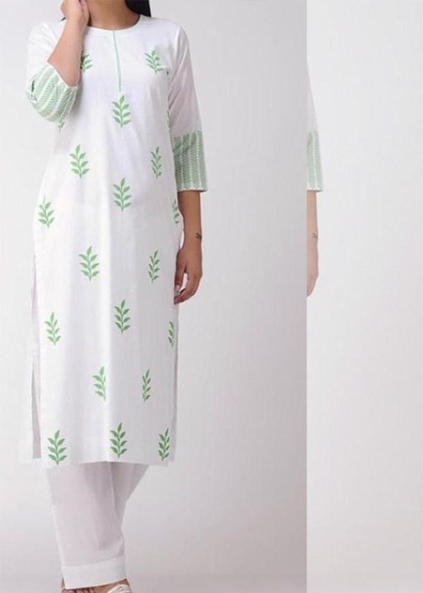 White cotton kurti and palazzo 2-piece set