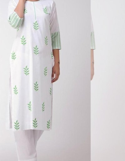 White cotton kurti and palazzo 2-piece set