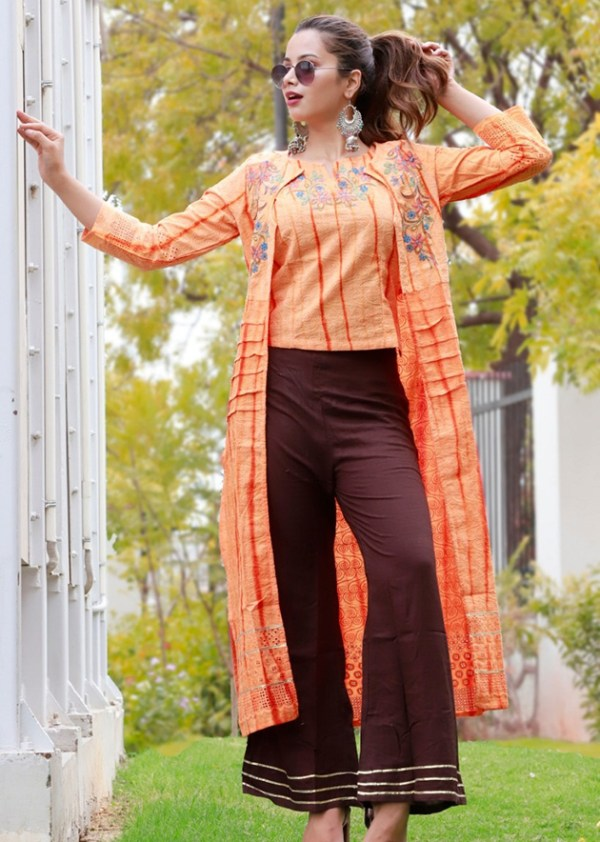 Cotton schiffli top and jacket with palazzo