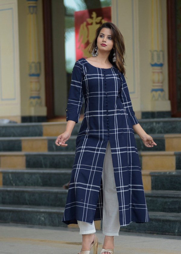 Blue cotton kurti with rayon pant