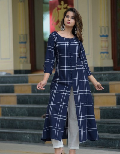 Blue cotton kurti with rayon pant