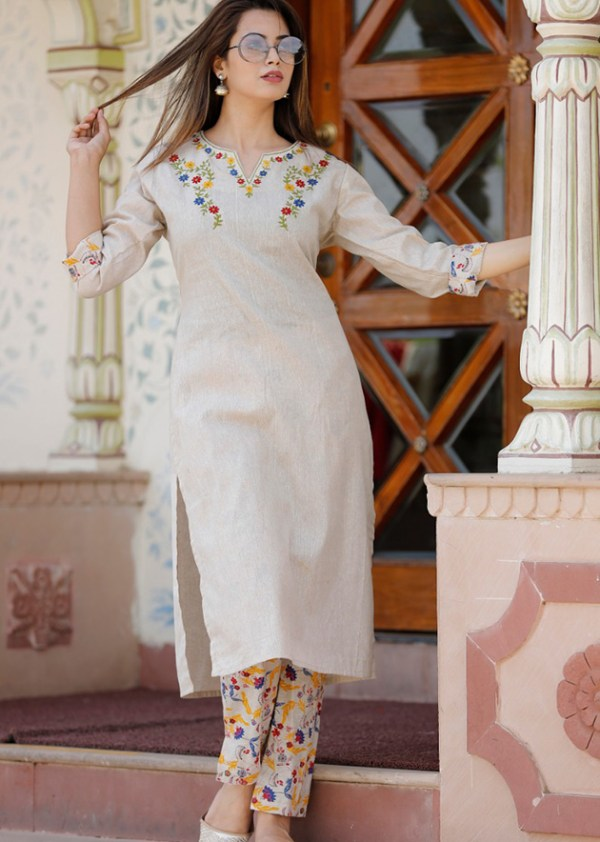 cotton kurta pant set embroidery