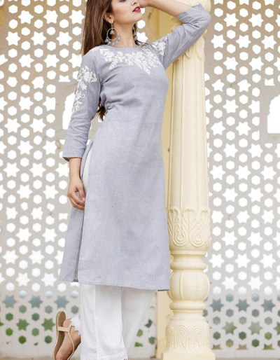 South cotton kurti and pant with thread embroidery work am - 1690