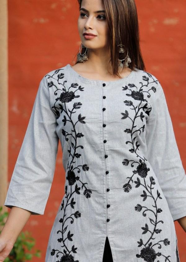 Cotton slub straight kurti-dhoti 1