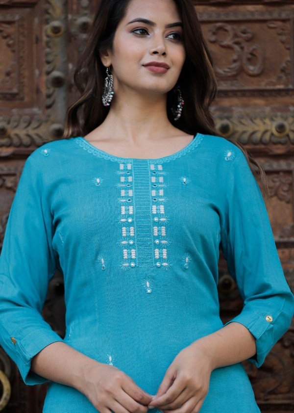 Blue kurti with off-white printed skirt