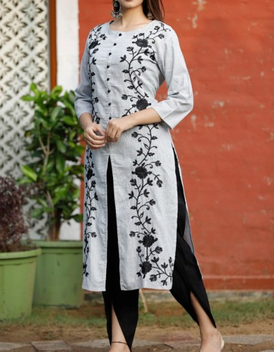 Cotton slub straight kurti-dhoti