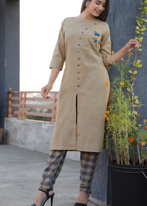 tuton fabric kurti and pant with embroidery