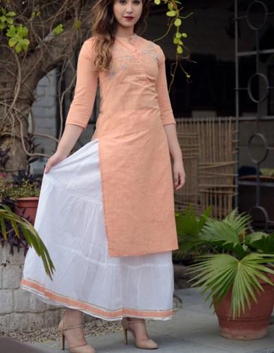 cotton slub kurti skirt