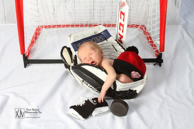 hockey themed Newborn Portraits