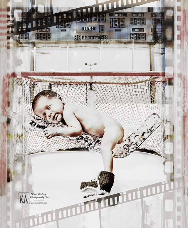 hockey themed Newborn Portraits using hockey equipment