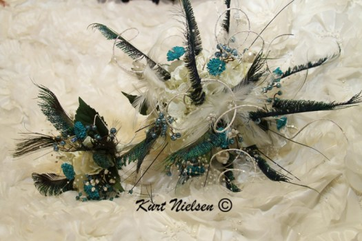 Peacock Feathers in Bride's Bouquet
