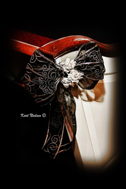 Black and Silver Pew Bows