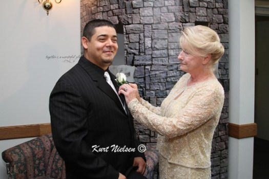 Grandmother Pinning on Boutonniere
