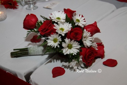 Bride's Bouquet of Red Roses and White Daisies