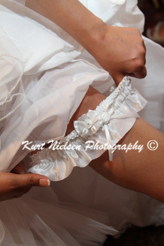 white wedding garter