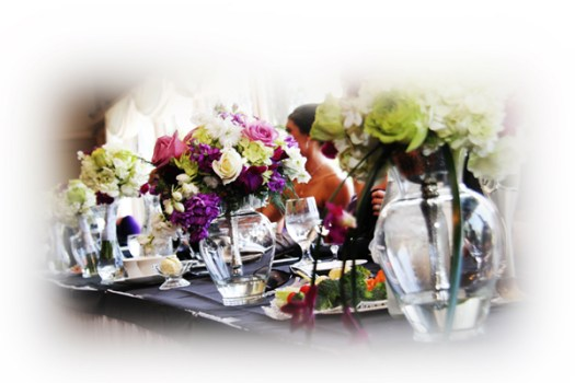 Bridal Party Bouquets on head table