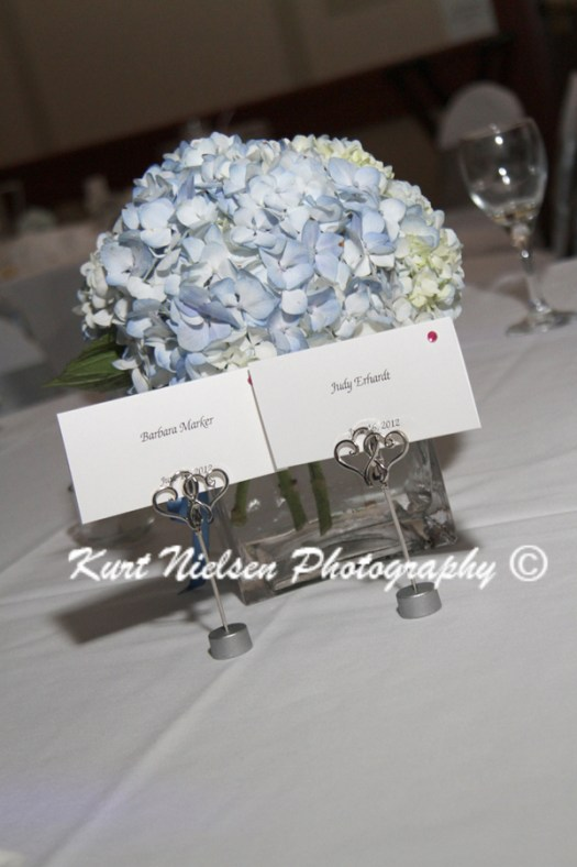 escort cards with blue centerpiece
