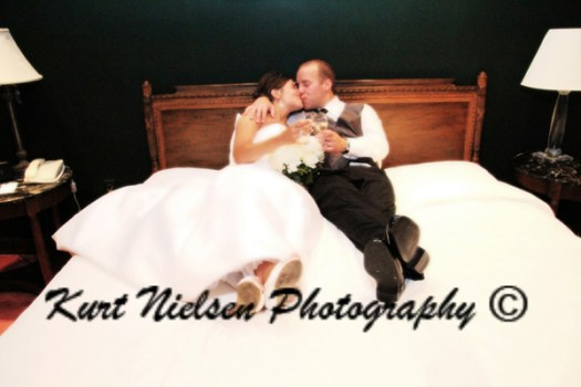 photo of the bride and groom in the bridal suite