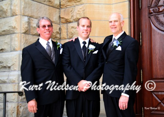 groom with his father and the bride's father
