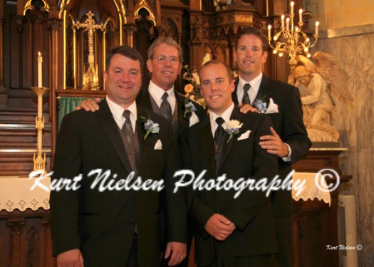 groom and his brothers-in-law with the father