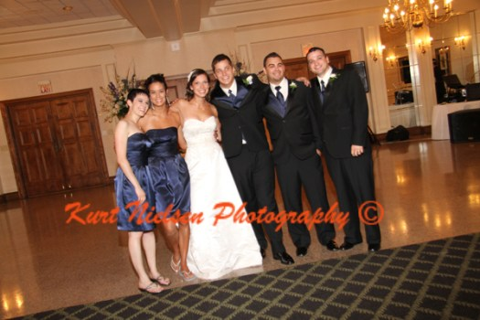 wedding party photos at reception