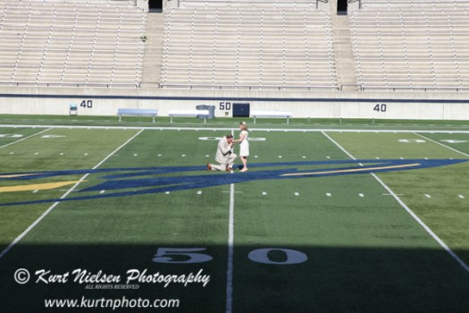 football field wedding photos