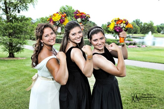 sun's out, guns out bridal pose at real perrysburg wedding