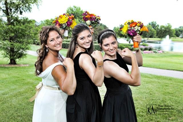 sun's out, guns out bridal pose at real perrysburg wedding