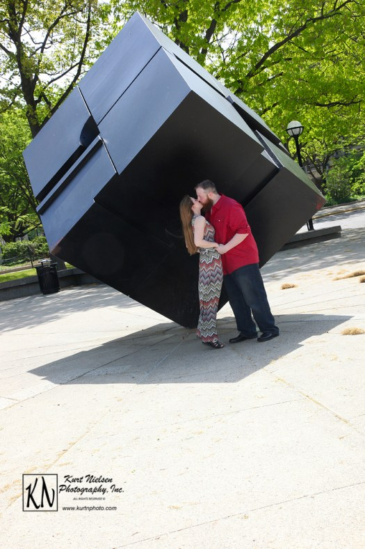 Ann Arbor Engagement photography at the Cube on the Campus of the University of Michigan