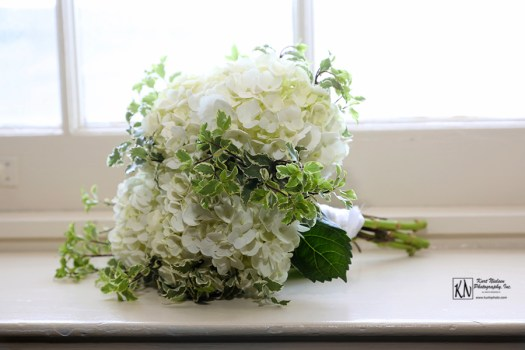 white hydrangea and green ivy bridal bouquet
