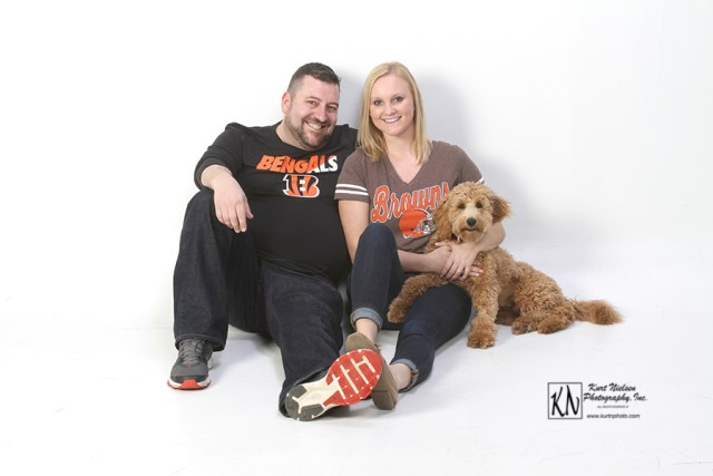 professional football themed engagement session at Kurt Nielsen Photography