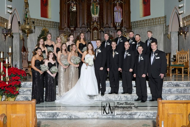large formal bridal party