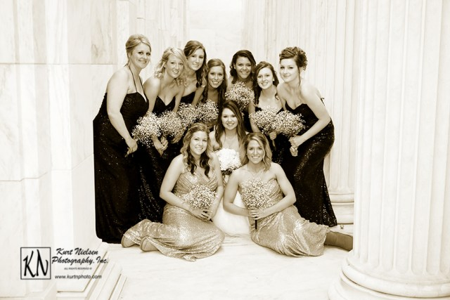 formal wedding party picture of bridesmaids with bride