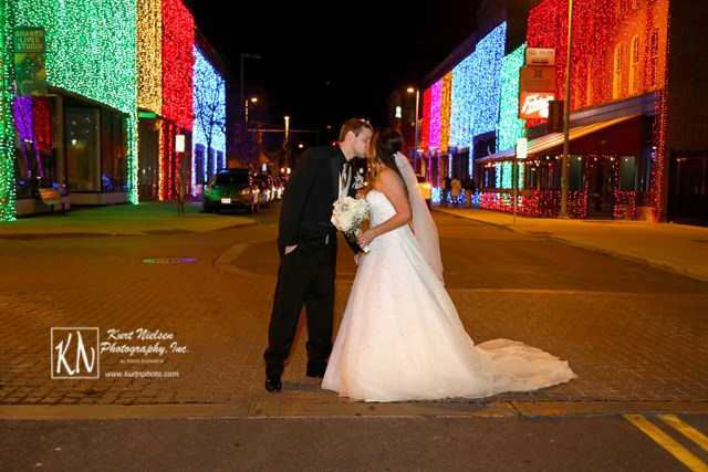 downtown Toledo New Year's eve wedding photo